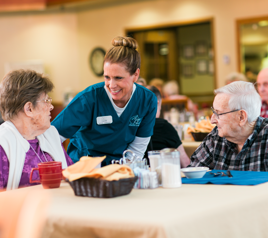 Welcome to our Dining Room! Mealtime is often a favorite activity for our residents not only to enjoy our delicious meals; but also to engage socially as we serve our meals family-style.