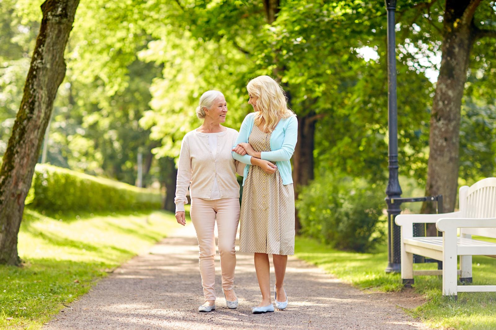 Elderly Mother Daughter walk